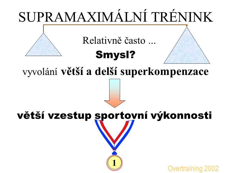 SUPRAMAXIMÁLNÍ TRÉNINK Relativně často... Smysl? vyvolání větší a delší superkompenzace větší vzestup sportovní výkonnosti 1 Overtraining 2002