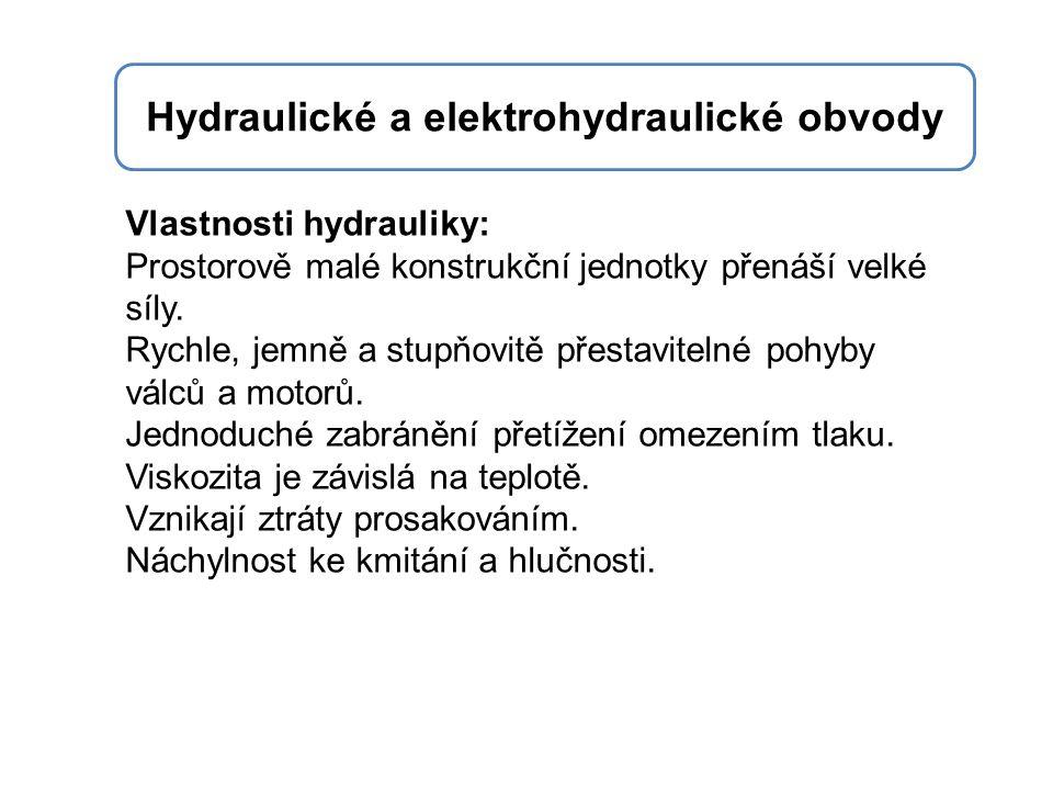 Vlastnosti hydrauliky: Prostorově malé konstrukční jednotky přenáší velké síly. Rychle, jemně a stupňovitě přestavitelné pohyby válců a motorů. Jednod