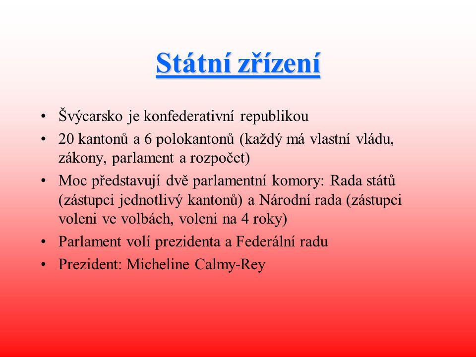 Státní zřízení Švýcarsko je konfederativní republikou 20 kantonů a 6 polokantonů (každý má vlastní vládu, zákony, parlament a rozpočet) Moc představuj