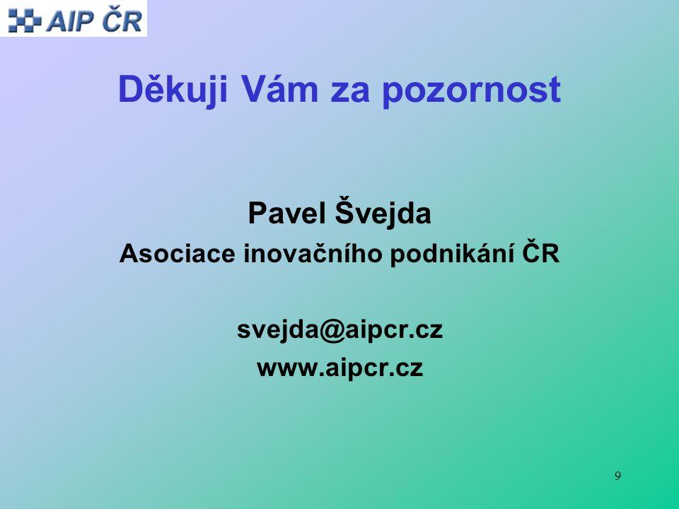 9 Děkuji Vám za pozornost Pavel Švejda Asociace inovačního podnikání ČR svejda@aipcr.cz www.aipcr.cz