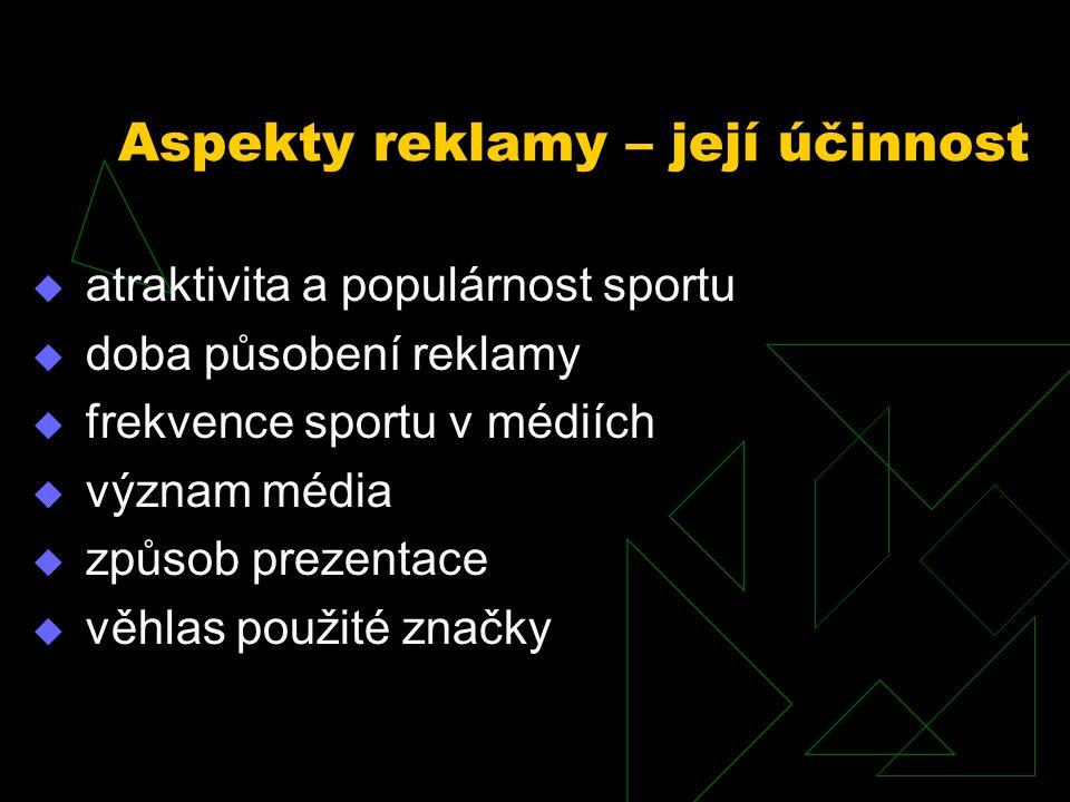  atraktivita a populárnost sportu  doba působení reklamy  frekvence sportu v médiích  význam média  způsob prezentace  věhlas použité značky Asp