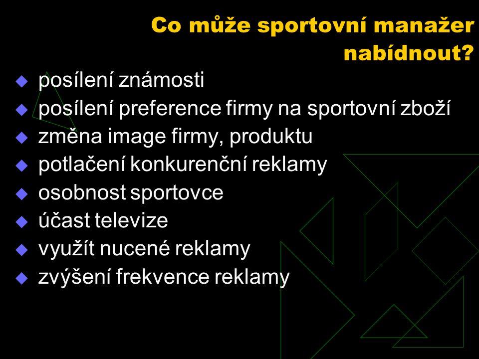  posílení známosti  posílení preference firmy na sportovní zboží  změna image firmy, produktu  potlačení konkurenční reklamy  osobnost sportovce
