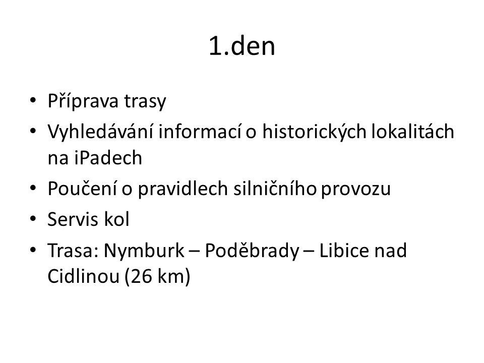 1.den Příprava trasy Vyhledávání informací o historických lokalitách na iPadech Poučení o pravidlech silničního provozu Servis kol Trasa: Nymburk – Poděbrady – Libice nad Cidlinou (26 km)