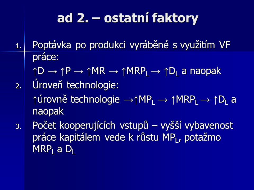 ad 1. – změna mzdové sazby Koeficient cenové elasticity poptávky po práci: ePDL = δL/δw/L/w ePDL je ovlivněna: 1. E lasticitou poptávky po produktu vy