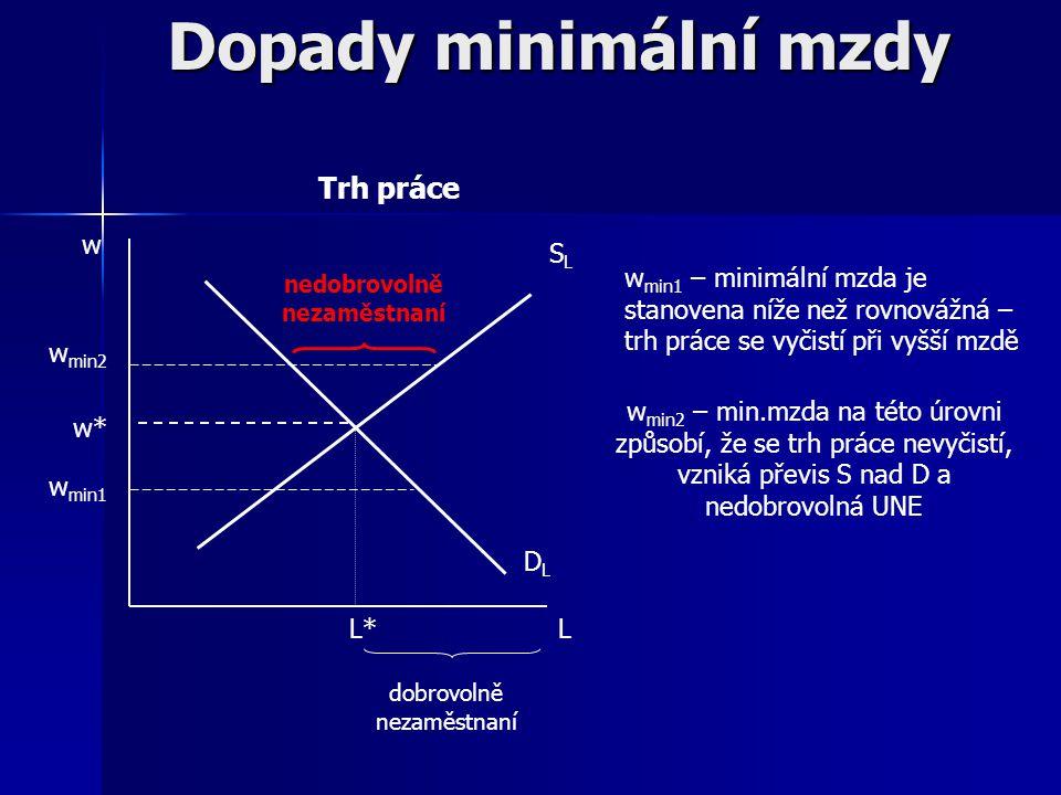 Minimální mzda = cenová regulace na trhu práce, čili regulace mzdová Cíle: garantování minimálního příjmu pracovníků státem → nástroj sociální politik