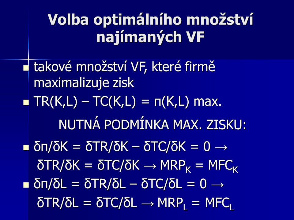 Volba optimálního množství najímaných VF takové množství VF, které firmě maximalizuje zisk TR(K,L) – TC(K,L) = π(K,L) max.