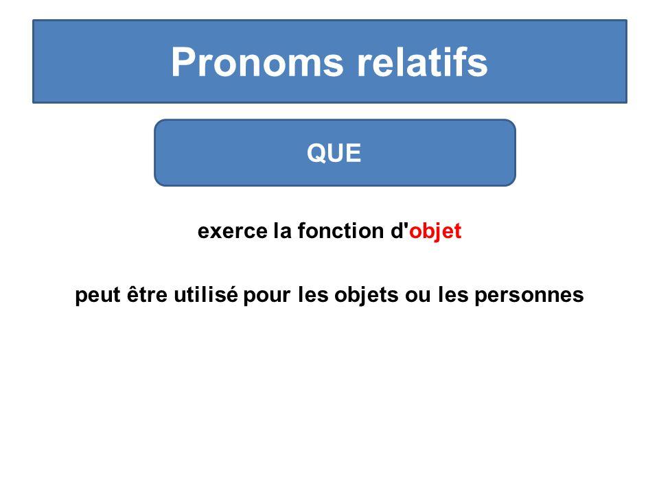 Pronoms relatifs exerce la fonction d objet peut être utilisé pour les objets ou les personnes QUE