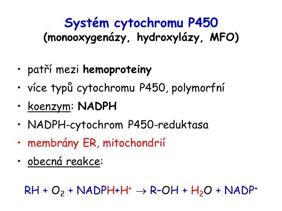 Systém cytochromu P450 (monooxygenázy, hydroxylázy, MFO) patří mezi hemoproteiny více typů cytochromu P450, polymorfní koenzym: NADPH NADPH-cytochrom