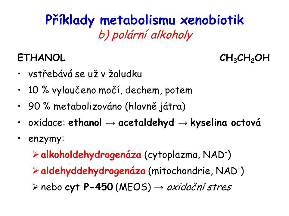 ETHANOLCH 3 CH 2 OH vstřebává se už v žaludku 10 % vyloučeno močí, dechem, potem 90 % metabolizováno (hlavně játra) oxidace: ethanol → acetaldehyd → k