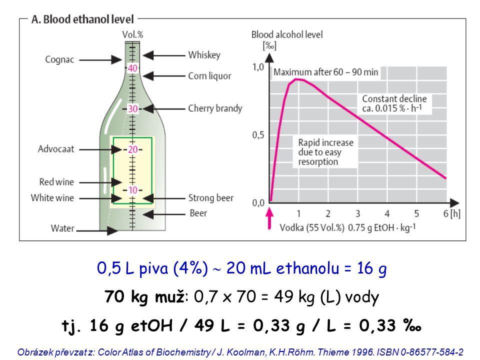 0,5 L piva (4%)  20 mL ethanolu = 16 g 70 kg muž: 0,7 x 70 = 49 kg (L) vody tj. 16 g etOH / 49 L = 0,33 g / L = 0,33 ‰