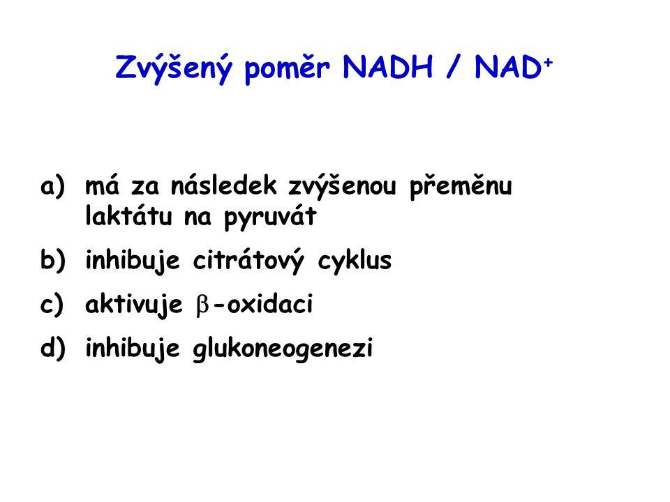 Zvýšený poměr NADH / NAD + a)má za následek zvýšenou přeměnu laktátu na pyruvát b)inhibuje citrátový cyklus c)aktivuje  -oxidaci d)inhibuje glukoneog