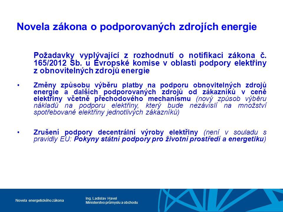 Ing. Ladislav Havel Ministerstvo průmyslu a obchodu Novela energetického zákona Novela zákona o podporovaných zdrojích energie Požadavky vyplývající z