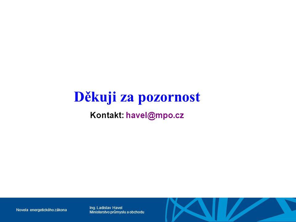 Ing. Ladislav Havel Ministerstvo průmyslu a obchodu Novela energetického zákona Děkuji za pozornost Kontakt: havel@mpo.cz