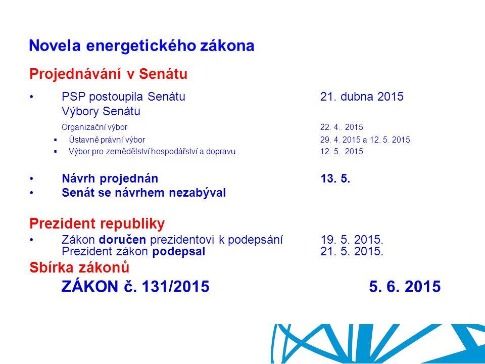 Ing. Ladislav Havel Ministerstvo průmyslu a obchodu Novela energetického zákona Projednávání v Senátu PSP postoupila Senátu21. dubna 2015 Výbory Senát