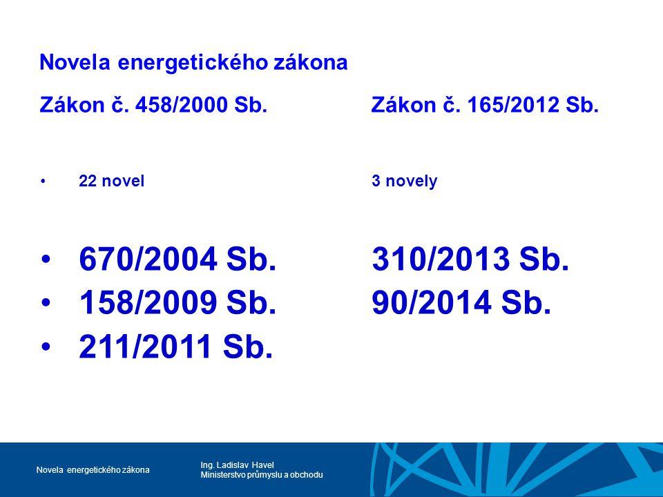 Ing. Ladislav Havel Ministerstvo průmyslu a obchodu Novela energetického zákona Zákon č. 458/2000 Sb.Zákon č. 165/2012 Sb. 22 novel3 novely 670/2004 S
