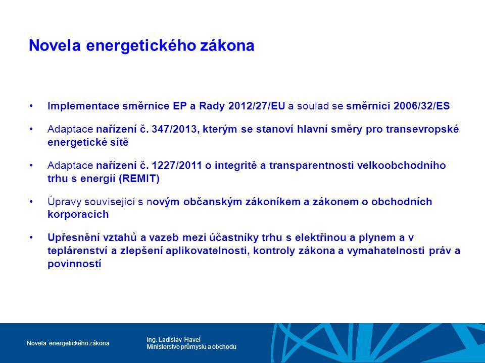 Ing. Ladislav Havel Ministerstvo průmyslu a obchodu Novela energetického zákona Implementace směrnice EP a Rady 2012/27/EU a soulad se směrnici 2006/3