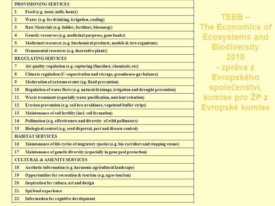 TEEB – The Economics of Ecosystems and Biodiversity 2010 - zpráva z Evropského společenství, komise pro ŽP z Evropské komise PROVISIONING SERVICES 1 Food (e.g.