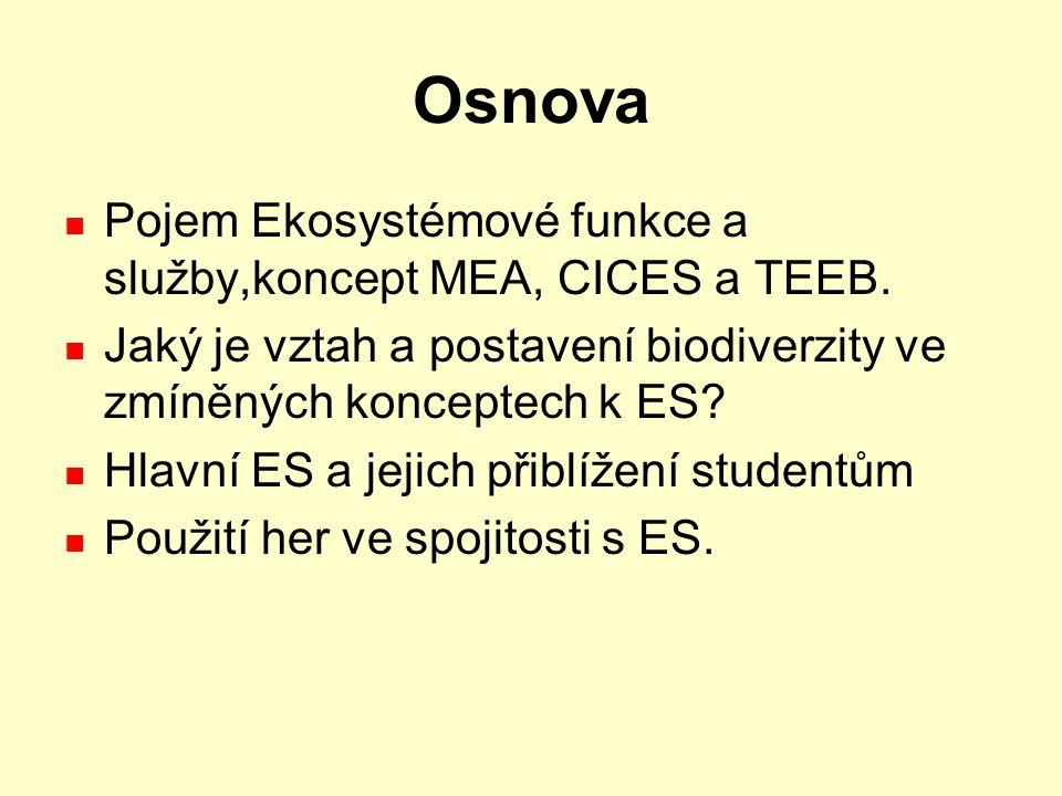 Osnova Pojem Ekosystémové funkce a služby,koncept MEA, CICES a TEEB. Jaký je vztah a postavení biodiverzity ve zmíněných konceptech k ES? Hlavní ES a
