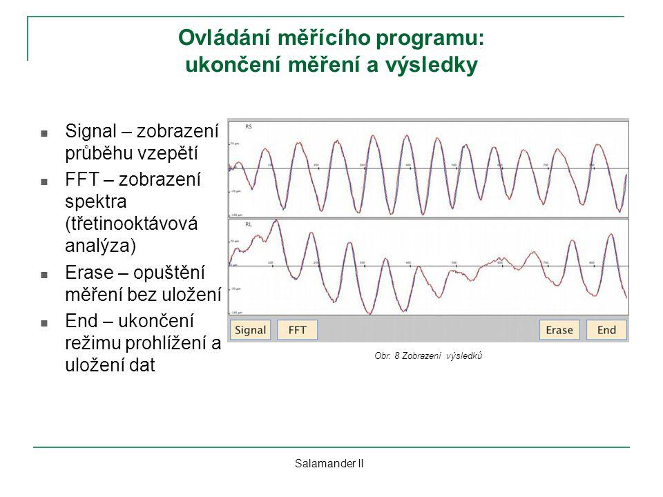 Ovládání měřícího programu: ukončení měření a výsledky Signal – zobrazení průběhu vzepětí FFT – zobrazení spektra (třetinooktávová analýza) Erase – op