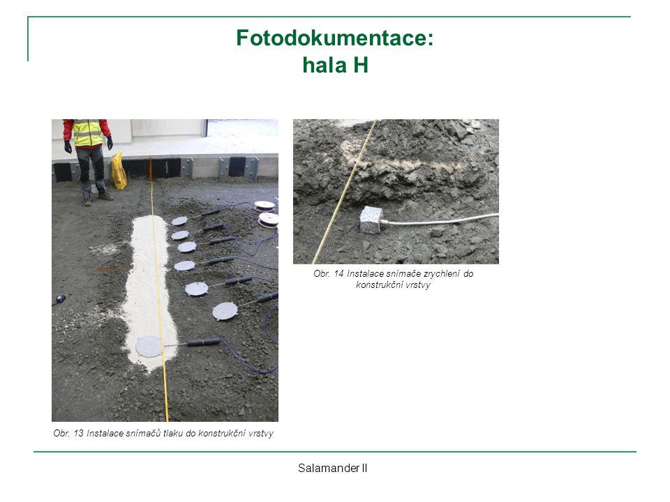 Fotodokumentace: hala H Salamander II Obr. 13 Instalace snímačů tlaku do konstrukční vrstvy Obr. 14 Instalace snímače zrychlení do konstrukční vrstvy