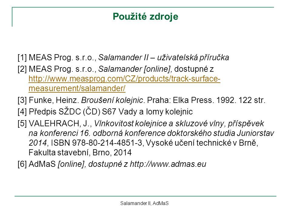 Použité zdroje [1] MEAS Prog. s.r.o., Salamander II – uživatelská příručka [2] MEAS Prog. s.r.o., Salamander [online], dostupné z http://www.measprog.
