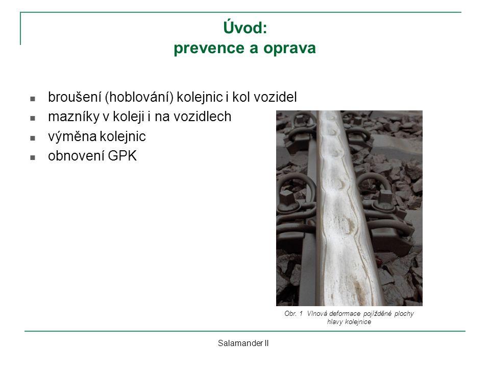 Úvod: prevence a oprava broušení (hoblování) kolejnic i kol vozidel mazníky v koleji i na vozidlech výměna kolejnic obnovení GPK Salamander II Obr. 1