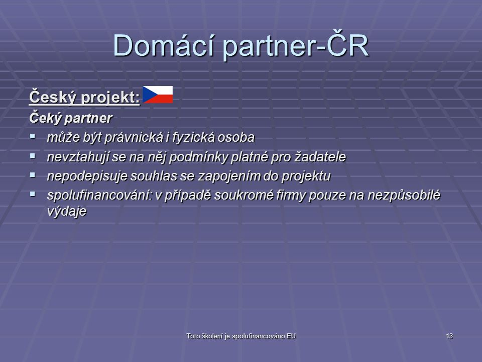 Toto školení je spolufinancováno EU13 Domácí partner-ČR Český projekt: Čeký partner  může být právnická i fyzická osoba  nevztahují se na něj podmín