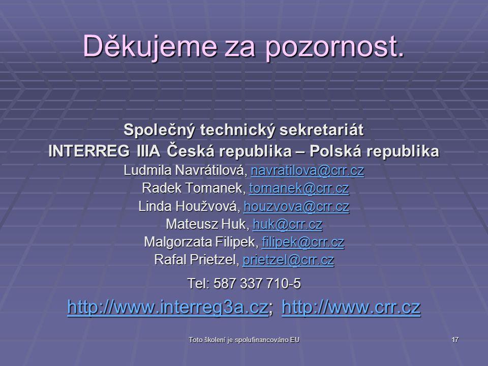 Toto školení je spolufinancováno EU17 Děkujeme za pozornost. Společný technický sekretariát INTERREG IIIA Česká republika – Polská republika Ludmila N