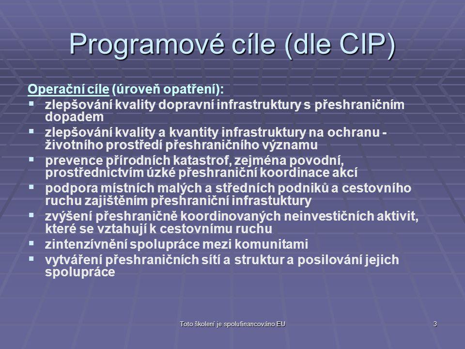 Toto školení je spolufinancováno EU3 Programové cíle (dle CIP) Operační cíle (úroveň opatření):   zlepšování kvality dopravní infrastruktury s přesh