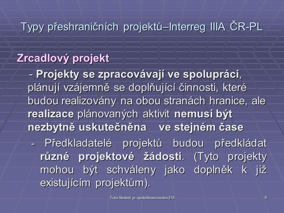 Toto školení je spolufinancováno EU8 Typy přeshraničních projektů–Interreg IIIA ČR-PL Zrcadlový projekt - Projekty se zpracovávají ve spolupráci, plán