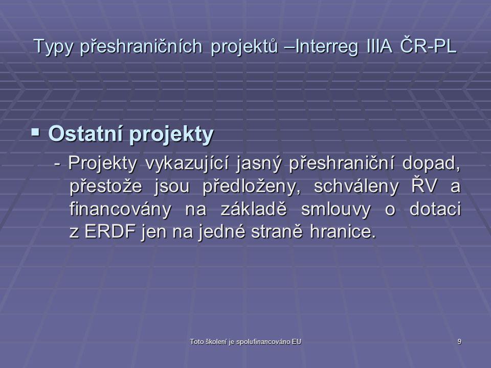 Toto školení je spolufinancováno EU9 Typy přeshraničních projektů –Interreg IIIA ČR-PL  Ostatní projekty - Projekty vykazující jasný přeshraniční dop