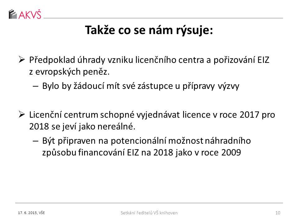 Takže co se nám rýsuje:  Předpoklad úhrady vzniku licenčního centra a pořizování EIZ z evropských peněz.