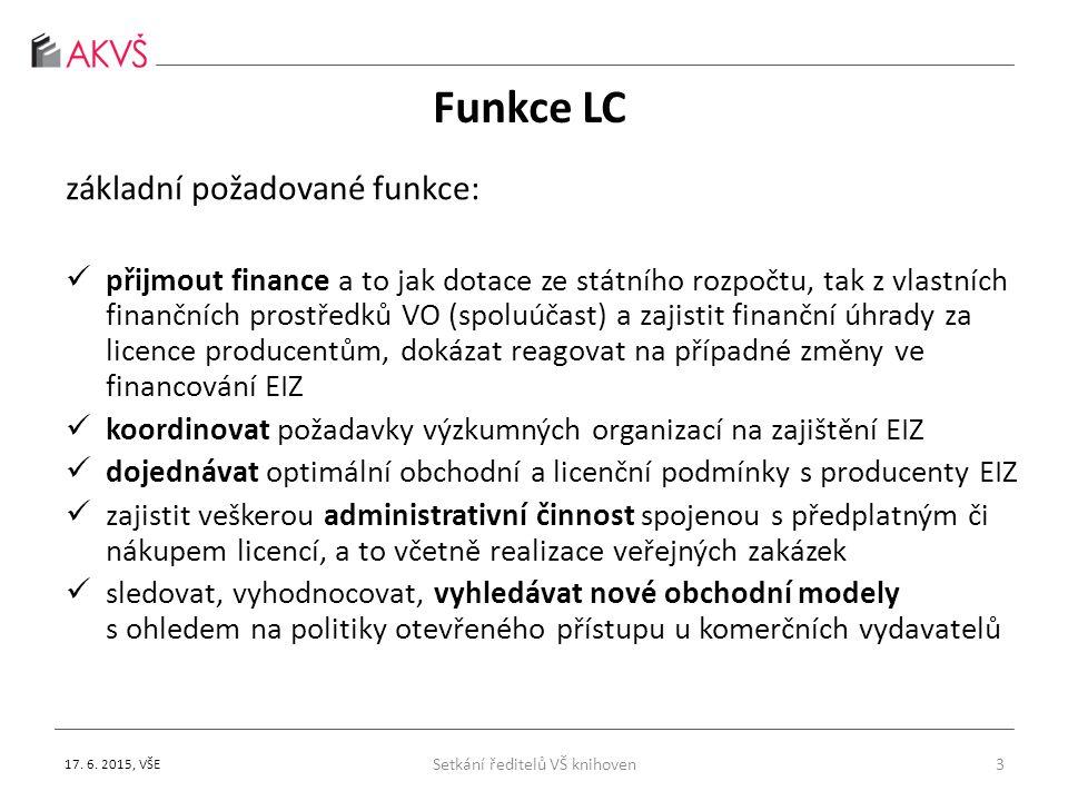 Funkce LC základní požadované funkce: přijmout finance a to jak dotace ze státního rozpočtu, tak z vlastních finančních prostředků VO (spoluúčast) a zajistit finanční úhrady za licence producentům, dokázat reagovat na případné změny ve financování EIZ koordinovat požadavky výzkumných organizací na zajištění EIZ dojednávat optimální obchodní a licenční podmínky s producenty EIZ zajistit veškerou administrativní činnost spojenou s předplatným či nákupem licencí, a to včetně realizace veřejných zakázek sledovat, vyhodnocovat, vyhledávat nové obchodní modely s ohledem na politiky otevřeného přístupu u komerčních vydavatelů 3 17.