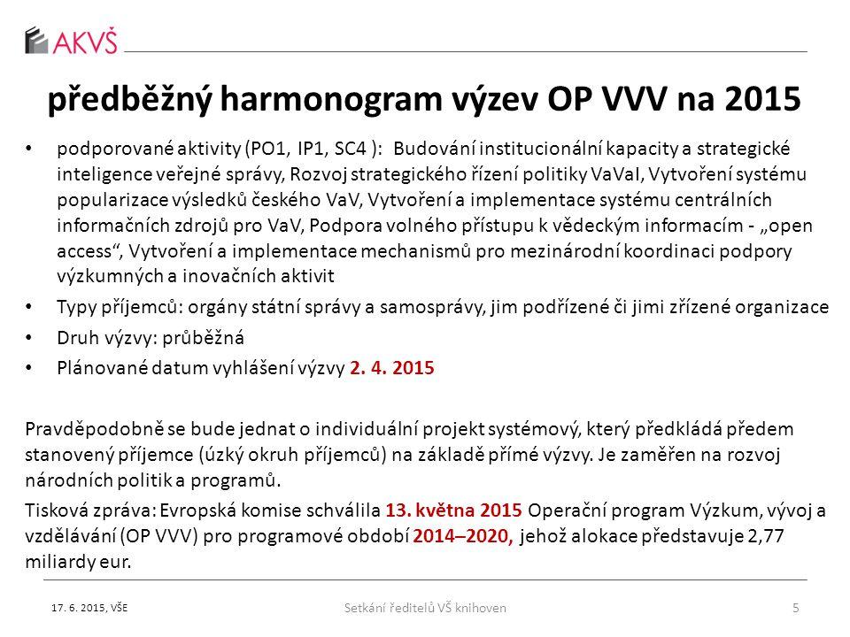 květen 2015 – apelace nadřízeným orgánům Nejsou známy informace o zajištění elektronických informačních zdrojů pro VaVaI po roce 2017 po skončení financování ze stávajících projektů OP VaVpI a programu Informace základ výzkumu.