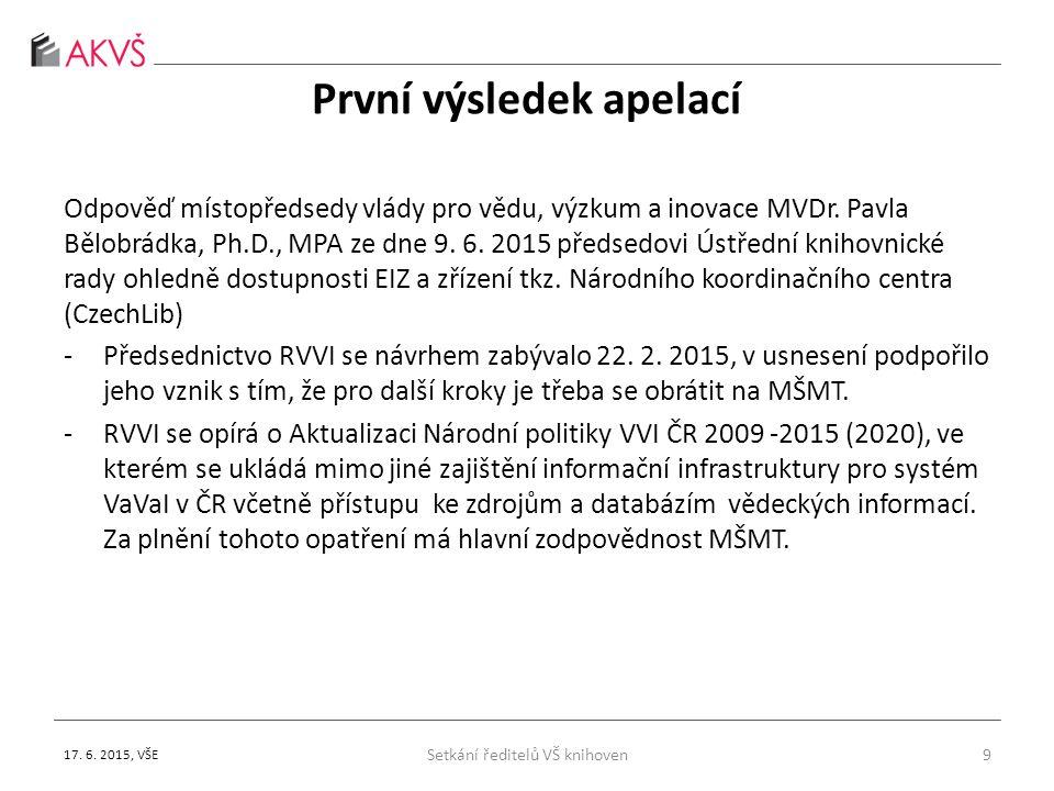 První výsledek apelací Odpověď místopředsedy vlády pro vědu, výzkum a inovace MVDr.