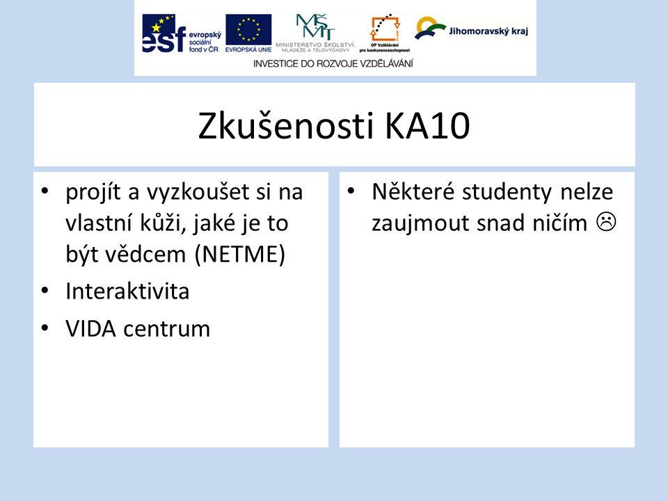 Zkušenosti KA10 projít a vyzkoušet si na vlastní kůži, jaké je to být vědcem (NETME) Interaktivita VIDA centrum Některé studenty nelze zaujmout snad ničím 