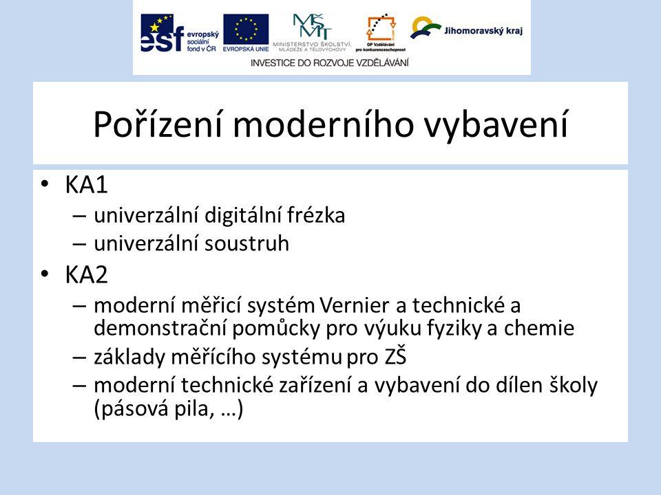 Pořízení moderního vybavení KA1 – univerzální digitální frézka – univerzální soustruh KA2 – moderní měřicí systém Vernier a technické a demonstrační pomůcky pro výuku fyziky a chemie – základy měřícího systému pro ZŠ – moderní technické zařízení a vybavení do dílen školy (pásová pila, …)