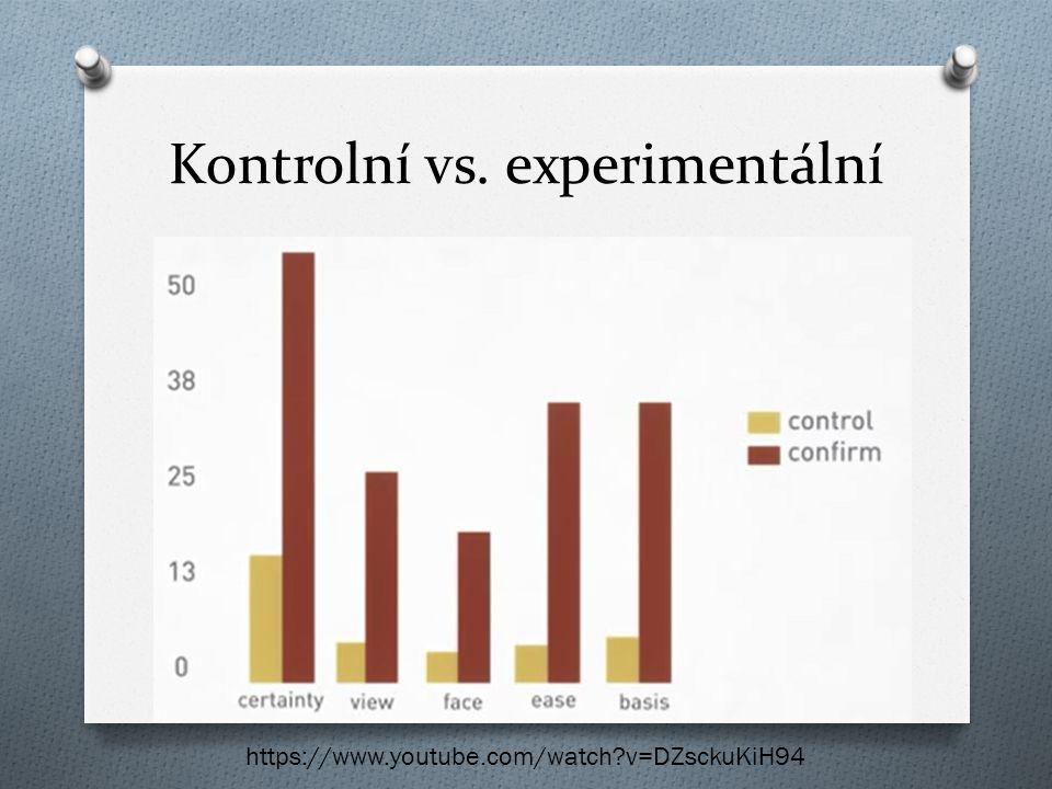 Kontrolní vs. experimentální https://www.youtube.com/watch?v=DZsckuKiH94