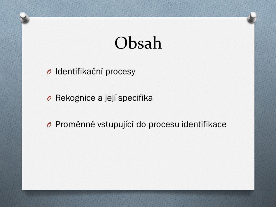 Obsah O Identifikační procesy O Rekognice a její specifika O Proměnné vstupující do procesu identifikace
