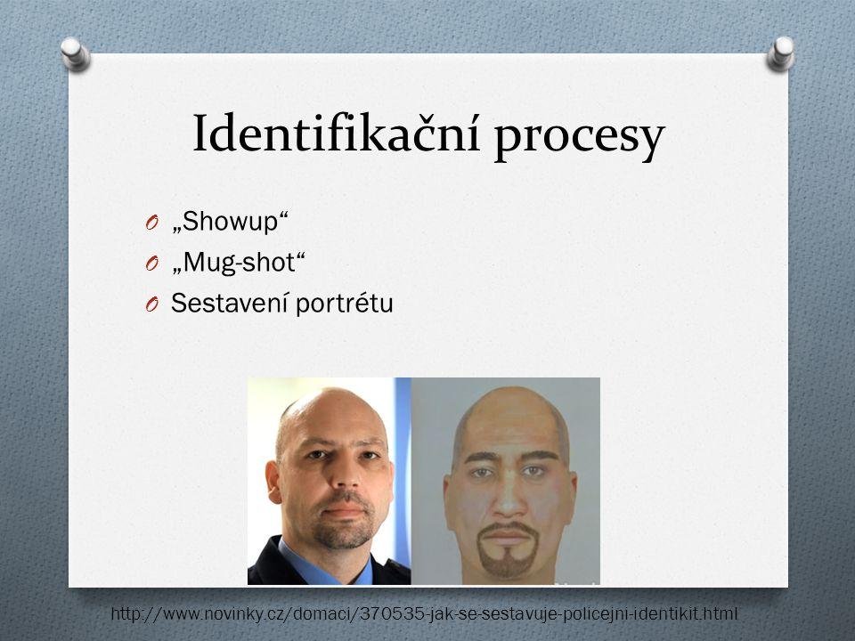"""Identifikační procesy O """"Showup"""" O """"Mug-shot"""" O Sestavení portrétu http://www.novinky.cz/domaci/370535-jak-se-sestavuje-policejni-identikit.html"""