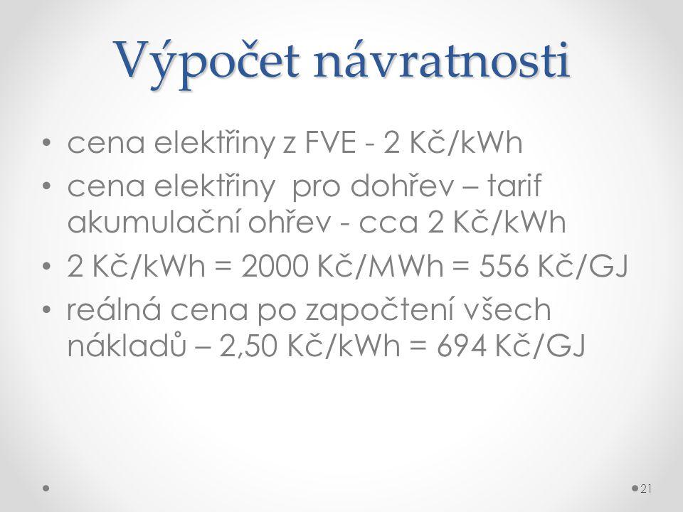 Výpočet návratnosti cena elektřiny z FVE - 2 Kč/kWh cena elektřiny pro dohřev – tarif akumulační ohřev - cca 2 Kč/kWh 2 Kč/kWh = 2000 Kč/MWh = 556 Kč/GJ reálná cena po započtení všech nákladů – 2,50 Kč/kWh = 694 Kč/GJ 21