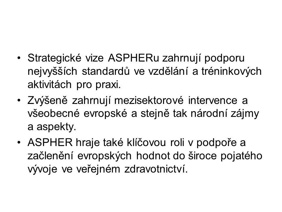 Strategické vize ASPHERu zahrnují podporu nejvyšších standardů ve vzdělání a tréninkových aktivitách pro praxi.
