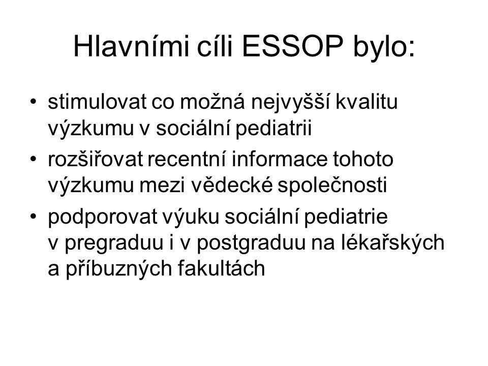 Hlavními cíli ESSOP bylo: stimulovat co možná nejvyšší kvalitu výzkumu v sociální pediatrii rozšiřovat recentní informace tohoto výzkumu mezi vědecké společnosti podporovat výuku sociální pediatrie v pregraduu i v postgraduu na lékařských a příbuzných fakultách