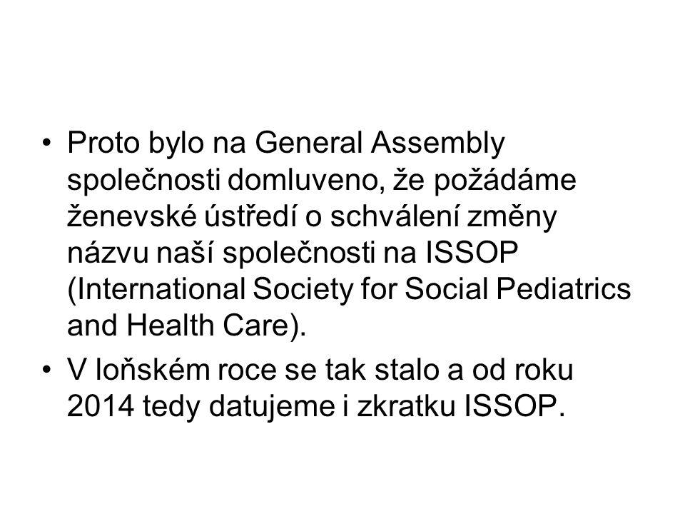Proto bylo na General Assembly společnosti domluveno, že požádáme ženevské ústředí o schválení změny názvu naší společnosti na ISSOP (International Society for Social Pediatrics and Health Care).