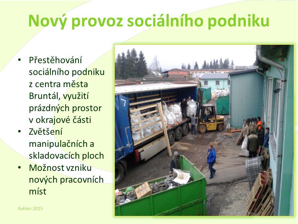 Nový provoz sociálního podniku Květen 2015 11 Přestěhování sociálního podniku z centra města Bruntál, využití prázdných prostor v okrajové části Zvětšení manipulačních a skladovacích ploch Možnost vzniku nových pracovních míst