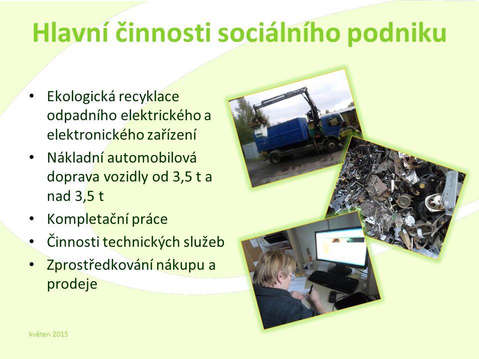 Hlavní činnosti sociálního podniku Ekologická recyklace odpadního elektrického a elektronického zařízení Nákladní automobilová doprava vozidly od 3,5 t a nad 3,5 t Kompletační práce Činnosti technických služeb Zprostředkování nákupu a prodeje květen 2015 4