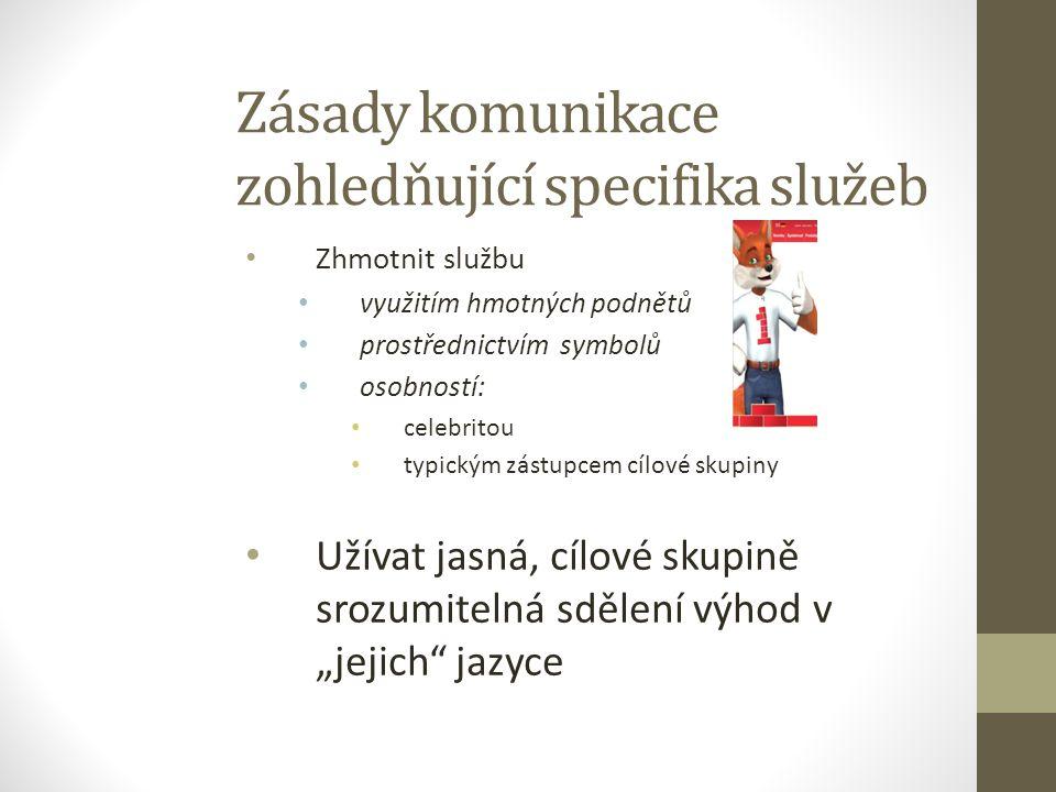 Zásady komunikace zohledňující specifika služeb Zhmotnit službu využitím hmotných podnětů prostřednictvím symbolů osobností: celebritou typickým zástu