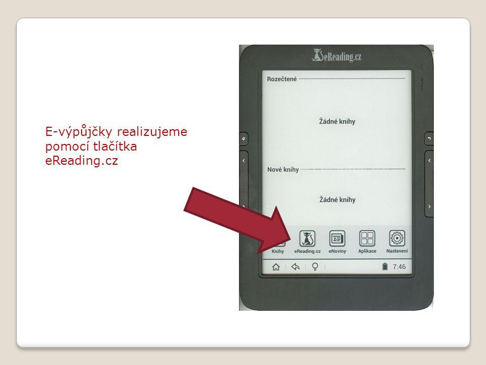 E-výpůjčky realizujeme pomocí tlačítka eReading.cz