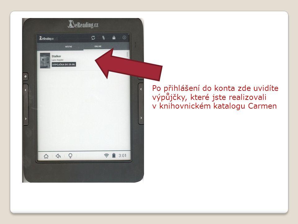 Po přihlášení do konta zde uvidíte výpůjčky, které jste realizovali v knihovnickém katalogu Carmen