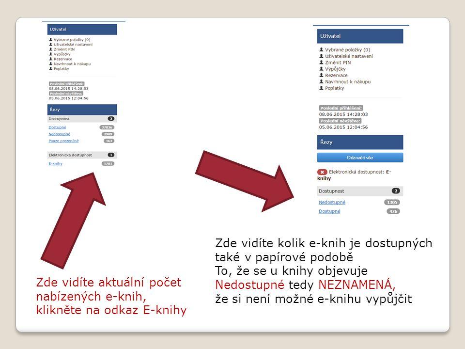 Zde vidíte aktuální počet nabízených e-knih, klikněte na odkaz E-knihy Zde vidíte kolik e-knih je dostupných také v papírové podobě To, že se u knihy objevuje Nedostupné tedy NEZNAMENÁ, že si není možné e-knihu vypůjčit